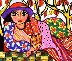 Woman Print, Art For Women, Girl's Room Decor, Pink and Yellow, Whimsical Woman Art, Bedroom Decor, Red Hat Lady by Paula DiLeo_8915