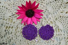 Purple round white drop earring
