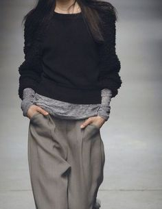 Soft, slouchy and layered looks like this only seem to work with greys. In Autumn. On brunettes. Weird. Celine, Chloe and Stella McCartney do this kind of look brilliantly. No coincidence, they have designer(s) in common. Ace.