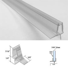 """CRL Clear Co-Extruded Bottom Wipe Drip Rail for 3//8/"""" Glass 36/"""" Long Custom Cuts"""