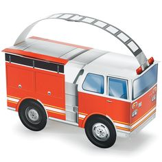 """Fire Trucks Empty Favor Boxes Includes 4 empty boxes. Each measures 6"""" wide x 4"""" high x 3"""" deep. Weight (lbs) 0.4 Length (inches) 10 Width (inches) 6 Height(inches) 0.25"""