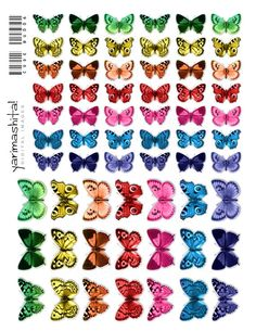 Rainbow butterfly images Colorful recolored Digital by Yarimashita Butterfly Table, Rainbow Butterfly, Butterfly Pattern, Butterfly Images, Butterfly Crafts, Decoupage Printables, Printable Art, Printable Butterfly, Homemade Stickers