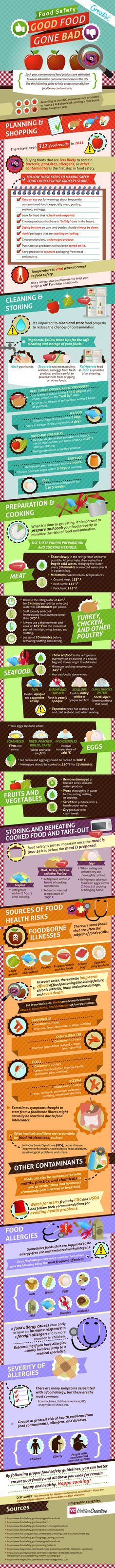 This food safety infographic communicates important food safety information and food safety tips to keep good food from going bad. Avocado Smoothie, Tips And Tricks, Food Safety, Safety Tips, Mental Training, Safety Training, Food Science, Life Science, Food Facts