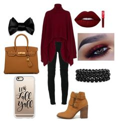 """""""It's Fall Y'all"""" by sas-queen on Polyvore featuring Balmain, Rosetta Getty, Steve Madden, Hermès, Casetify, Bling Jewelry and Lime Crime"""