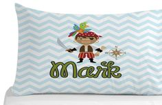 Shop for pirate on Etsy, the place to express your creativity through the buying and selling of handmade and vintage goods. Kids Bedroom, Bedroom Decor, Personalized Pillow Cases, Pirate Theme, Pirates, Chevron, Pillow Covers, Birthday Gifts, Pillows