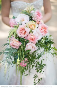 Haven't seen these in a while, but it's perfect for an outdoor garden wedding: Cascading Rose Bouquet# Blush Wedding Bouquet Trailing Bouquet, Cascade Bouquet, Rose Bouquet, Cascading Wedding Bouquets, Bridal Flowers, Floral Bouquets, Mod Wedding, Floral Wedding, Dream Wedding