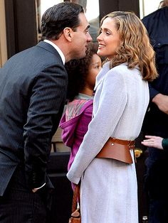 Bobby Cannavale sneaks in a little P.D.A. with real-life love Rose Byrne on the N.Y.C. set of the Annie remake on  December 4, 2013 .