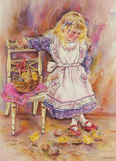 Easter basket and chicks - Christine Haworth. Bird Pictures, Vintage Pictures, Vintage Images, Artists For Kids, Art For Kids, Baby Clip Art, Illustration Art, Illustrations, Picture Postcards