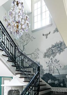 Gorgeous wallcovering + Baccarat chandelier in the stairway at the 2013 Decorator's Show House Gardens by The Mercantile. (Atlanta Style Now | Atlanta Homes Lifestyles.) PC: David Christensen.