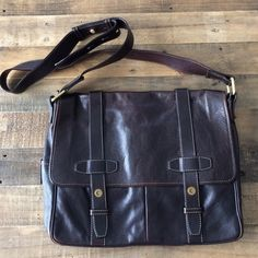 Bally leather messenger FINAL before gifting. Perfect condition even the interior. Deep brown leather and boldly colored stripe interior with pockets. Strap has notches to adjust the length. Thank you for shopping for second-hand leather here instead of creating more demand at a retail store. 10% of this net sale will be donated to PETA so they can continue fighting for animal rights.                                     Follow me on Instagram @jessinboots for 10% discount, sneak peaks or to…
