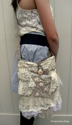 Large Shabby Chic Gypsy Bag soft thick earthy by PursenicketyBags, $80.00