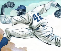 "Joe Morse illustration from the book ""Play Ball, Jackie!"" by Stephen Krensky."