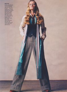 Masculine theme (waistcoat + wide-leg pants) || Styling by Tabitha Simmons || Vogue US September 2004