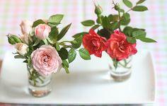 Copinhos de servir bebida são ótimos para acomodar arranjos de flores miúdas, como a minirrosa