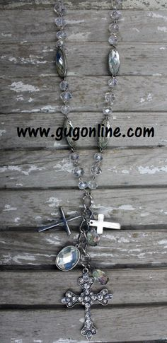 Long AB Necklace with Crystal Cross Dangle www.gugonline.com $19.95
