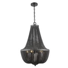 Add a dramatic finish to the dining or living room with this statement chandelier. Designed with a black iron frame, it features draped glass beads for a striking look. Perfect for both period and modern homes, it can be used with dimmer switches to help suit the ambience of a room.