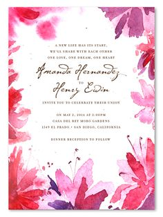 watercolor wedding invitations pink blooms - on white plantable paper (wildflower seeds in the paper) $3.99