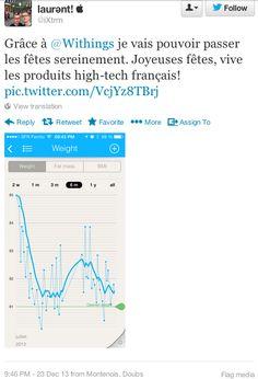 """laurənt!  (twitter.com/iXtrm) a tweté : """" Grâce à Withings je vais pouvoir passer les fêtes sereinement. Joyeuses fêtes, vive les produits high-tech français! pic.twitter.com/VcjYz8TBrj """" En savoir plus : http://www.withings.com/fr/scales"""