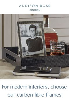 A classic addition to a desk or sideboard, carbon fibre photo frames are exceptionally handsome and incredibly popular! Display in your classic country home for the ultimate British design.  The carbon fibre photo frame looks great in a luxury living room, beautiful bedroom or even in a home office or family room.  #addisonross #carbonfibrephotoframe #silverphotoframe Gift Boxes Uk, Autumn Interior, Monochrome Interior, Contemporary Side Tables, Silver Frames, Family Room Decorating, Interior Styling, Interior Design, Classic House