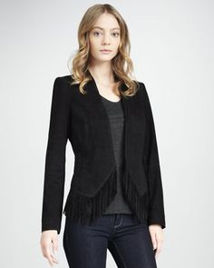Suede Fringe Jacket by Rebecca Taylor at Neiman Marcus.