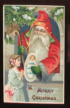 Victorian Santa Claus & Little Girl Antique Embossed Christmas Postcard-ppp836 #Christmas