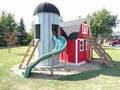 Red Play Barn with silo on slide