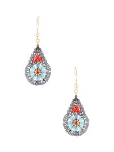 Swarovski, Miyuki, & Light Blue Quartz Drop Earrings