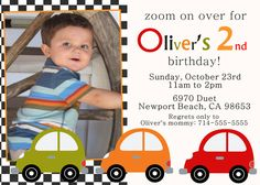 Car Birthday Party Invitation by ScrapbookStyle on Etsy, $14.00