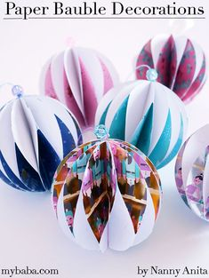 Every year I make paper decorations to decorate the kids playroom. This year I've been trying my hand at making paper baubles. How To Make Paper, Crafts To Make, Crafts For Kids, Arts And Crafts, Paper Christmas Decorations, Christmas Crafts, Double Sided Sticky Tape, Jam Jar, Playroom Decor