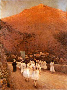 Prima comunione a Positano by Vincenzo Caprile (Naples, 1856 – Naples, 1936)