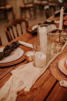 Clear Vases, Gold Mercury Votives, Gold Candlesticks, Gold Chargers, Gray Napkins, Cheesecloth Runner  P.C. Texas Charm Photography Gold Chargers, Cheesecloth, Clear Vases, Twinkle Lights, Candlesticks, Mercury, Wedding Venues, Napkins, Texas