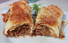 """Η Συνταγή είναι της κ.Eleni Tsoutsoudaki-Bassalou -""""ΟΙ ΧΡΥΣΟΧΕΡΕΣ / ΗΔΕΣ"""".    ΥΛΙΚΑ    Για τον κιμά  500 γρ. κιμά μοσχαρίσιο  1 κρεμμύδι  1/2 κ.γ. μοσχοκάρυδο  1/2 κ.γ. πάπρικα  1/2 κ.γ. κανέλα  2 κ.σ. πελτέ ντομάτας  150 γρ. τυρί γκούντα τριμμένο  Ελαιόλαδο  Αλάτι  Πιπέρι    Για τις κρέπες  2 κούπες αλεύρι  2½ κούπες γάλα Pitta, Lasagna, Food And Drink, Beef, Meals, Dinner, Ethnic Recipes, Pancakes, Meat"""