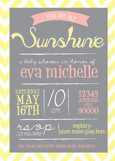You Are My Sunshine Baby Shower Invitation!