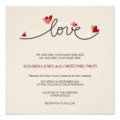 Simple Wedding Invitations In Love Simple Elegant Text Wedding Card