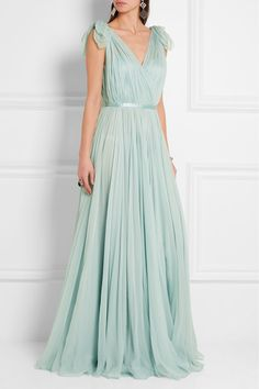 Alexander McQueen Mint silk-chiffon Concealed hook and zip fastening at back silk Dry clean Designer color: Egg Blue Made in Italy Mint Gown, Chiffon Gown, Ruched Dress, Chiffon Dresses, Pretty Dresses, Beautiful Dresses, Alexander Mcqueen, Bridesmaid Dresses, Prom Dresses