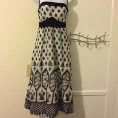 Anthropologists - price drop Ethereal black and white patterned dress.  Has a zipper on the side. Anthropologie Dresses Maxi