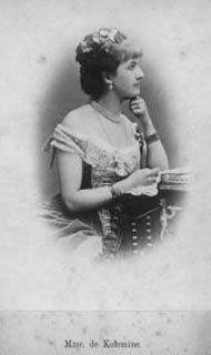 Countess Alexandrine Hutten-Czapska (Madame von Kolemine) (1854-1941) Russia, was 2nd wife (morganatic) of  King Louis IV (1837–1892) Grand Duke of Hesse. Louis IV was Alexandrine's 3rd marriage. It was quickly annulled on Queen Victoria's orders in 2 months.  Alexandrine & Louis IV had a son who was raised in Russia by his half-sister, the Tsar's wife, who was a Russian Army officer. Her parents were Count Adam Joseph von Hutten-Czapsky (1791-1866) Russia & Marianne Katarzyna Rzewuska…