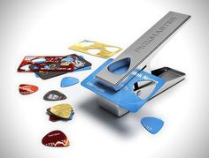 Pick Punch - Create a guitar pick from recycled materials. Rather than throw out your old credit cards, this device allows users to create a guitar pick from literally almost any hard plastic object.