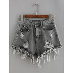 Frayed Grey Denim Shorts (€15) ❤ liked on Polyvore featuring shorts, grey, frayed denim shorts, destroyed denim shorts, distressed denim shorts, denim short shorts and grey shorts