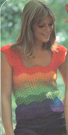 Vintage 1970s Rainbow Crochet Top Pattern PDF 7422 by cemetarian, $3.74