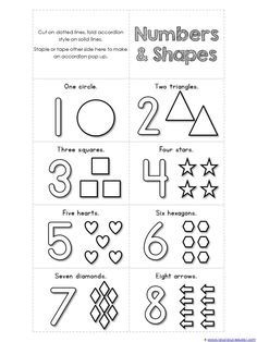 Numbers 1-10 and Shapes Mini Accordion Coloring Book printable {FREE}