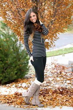 jeggings, stripes, boot socks, taupe boots