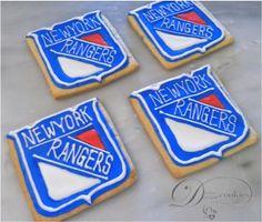 Diana's Dream Sweets: New York Rangers Hockey cookies Fiance Birthday, Happy Birthday Me, 8th Birthday, Royal Icing Cookies, Cupcake Cookies, Cupcakes, Hockey Party, Ice Hockey, Hockey Cakes