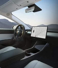 Tesla interior with display screen