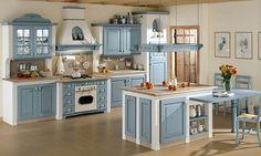 Cucina in muratura vintage blu decapato | idee per la casa ...