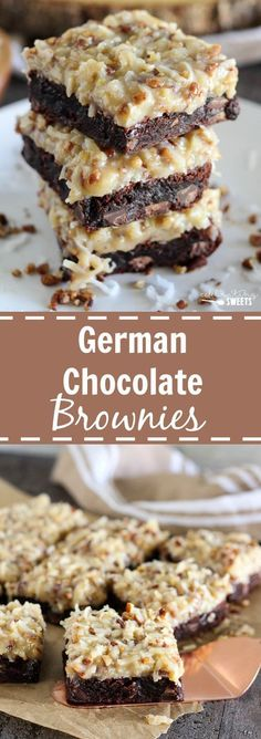 German Chocolate Brownies - Rich chocolaty brownies topped with a gooey homemade coconut pecan frosting. Make the brownies from scratch, or use a boxed brownie mix for the base of this recipe. You'll love this decadent dessert!