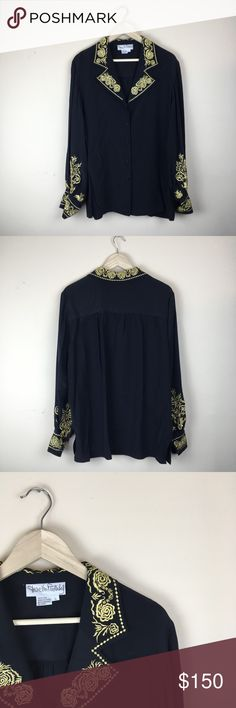 DVF 100% silk black gold embroidered blouse large No flaws. Classy blouse! Bundle this with other dvf in my closet to save $$$. Retail: 328$.   length: 31, sleeve: 21, Bust: 24. Diane Von Furstenberg Tops Tees - Long Sleeve