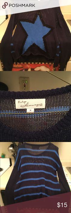Vintage Havana hi low seater - EUC Vintage Havana medium sweater blue with star in front and stripes in back has edges on front of sweater and low in back purchased from another posher just not my style so my loss is your gain - offers welcomed Vintage Havana Sweaters Crew & Scoop Necks