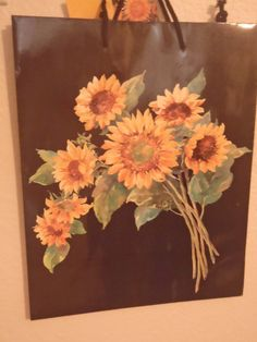 Big Vintage Sunflowers Gift Bag by ChicEventsDecor on Etsy