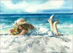 BEACH GIRL LOUNGE Children 15x11 Watercolor by Judith Stein Watercolors, $40.00